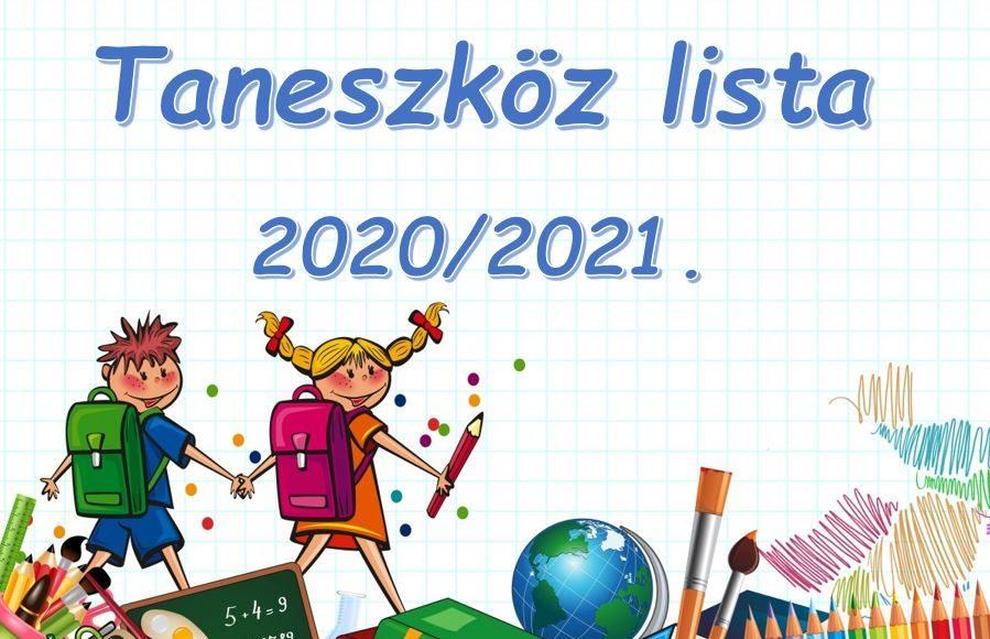 Taneszközjegyzék 2020/2021 tanév 1-8 osztály részére
